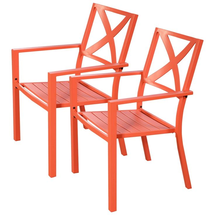 Costway 2 Pcs Orange Outdoor Patio Chair Slat Seat Furniture Porch Garden With Armrest, Patio Furniture (Metal)