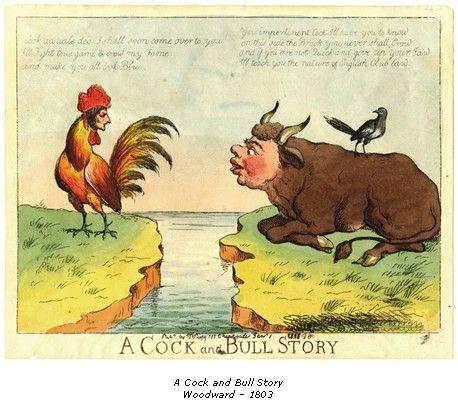 Woodword, la sfida tra il toro e il gallo (disegno satirico del 1802)