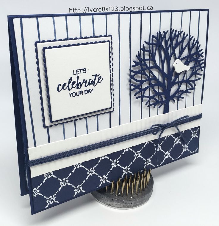 Linda Vich Creates: Birthday In Blue With Thoughtful Branches. Whisper White and Night of Navy combine in this card that showcases both the Floral Boutique DSP and the Thoughtful Branches Bundle.