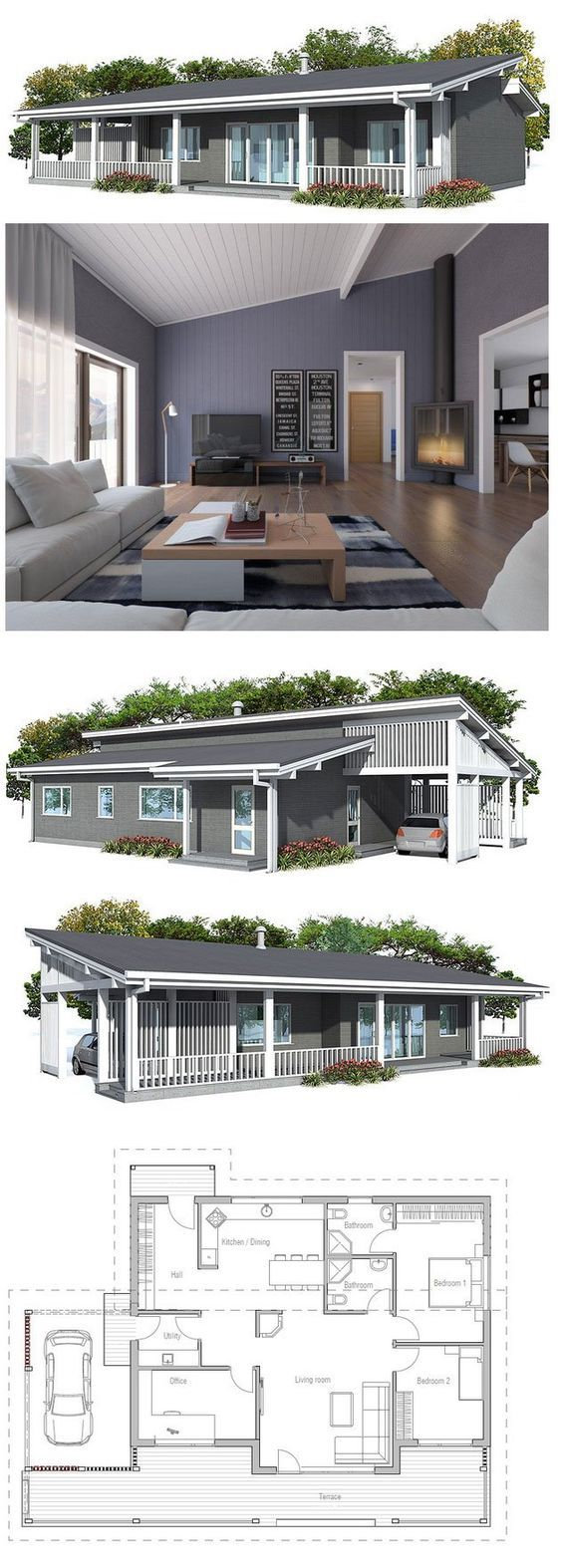 Small house plan in modern architecture, three bedrooms, suitable to small lot, spacious living room. Floor Plan from ConceptHome.com