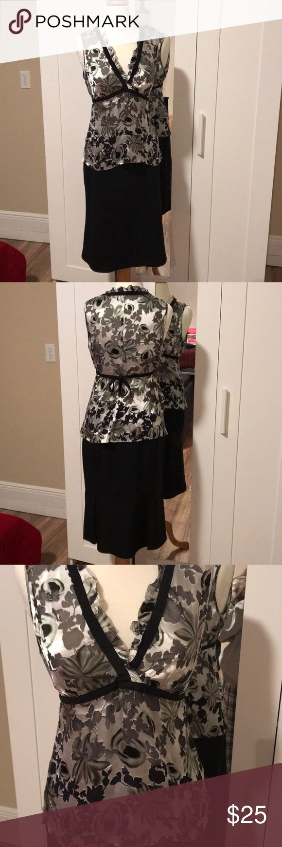 """Banana Republic skirt White House black market top This comes as an outfit! Size small top super cute silk design Skirt 24"""" length black banana republic size 4 Both are dry clean only Banana Republic Skirts Midi"""