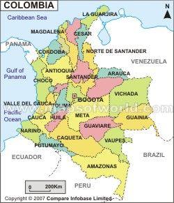 Mapa de Colombia. Situado en el norte del frente de América del sur. Colombia se rige por la forma de República unitaria de Gobierno. La posición geográfica exacta del país se indica en el mapa de Colombia. Bogotá es la capital del país. Los sitios económicos, políticos, históricos y culturales del país se manifiestan a través del mapa de Colombia.