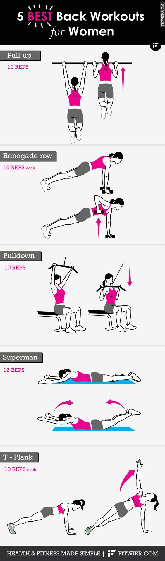 5 best back workouts for women - Tap the pin if you love super heroes too! Cause guess what? you will LOVE these super hero fitness shirts!