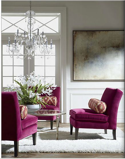 Don't be afraid to work with bold colors! Beautiful magenta velvet, shag rug, and icy crystal get it done just right! It's a bold look that is pulled off well, and looks glamorous enough to drink mimosas with my girlfriends! More champagne, please!    Good designs (like this one) start with professional planning, and that's why we're here. If you're in the Baltimore area, contact Jennifer at (410) 744-7272 to book an appointment.