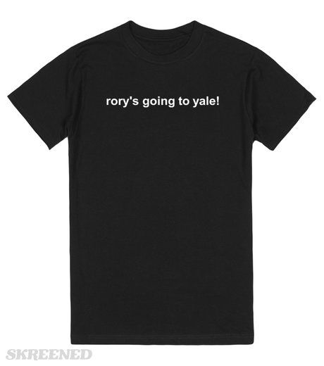 KRW Gilmore Girls Rory's Going to Yale T-shirt   For fans of the Gilmore Girls. Season 3, episode 17, A Tale of Poes and Fire. Who can forget Kirk trying to sell his topical t-shirts? Especially the final one - Rory's big decision, picking Yale over Harvard! #Skreened