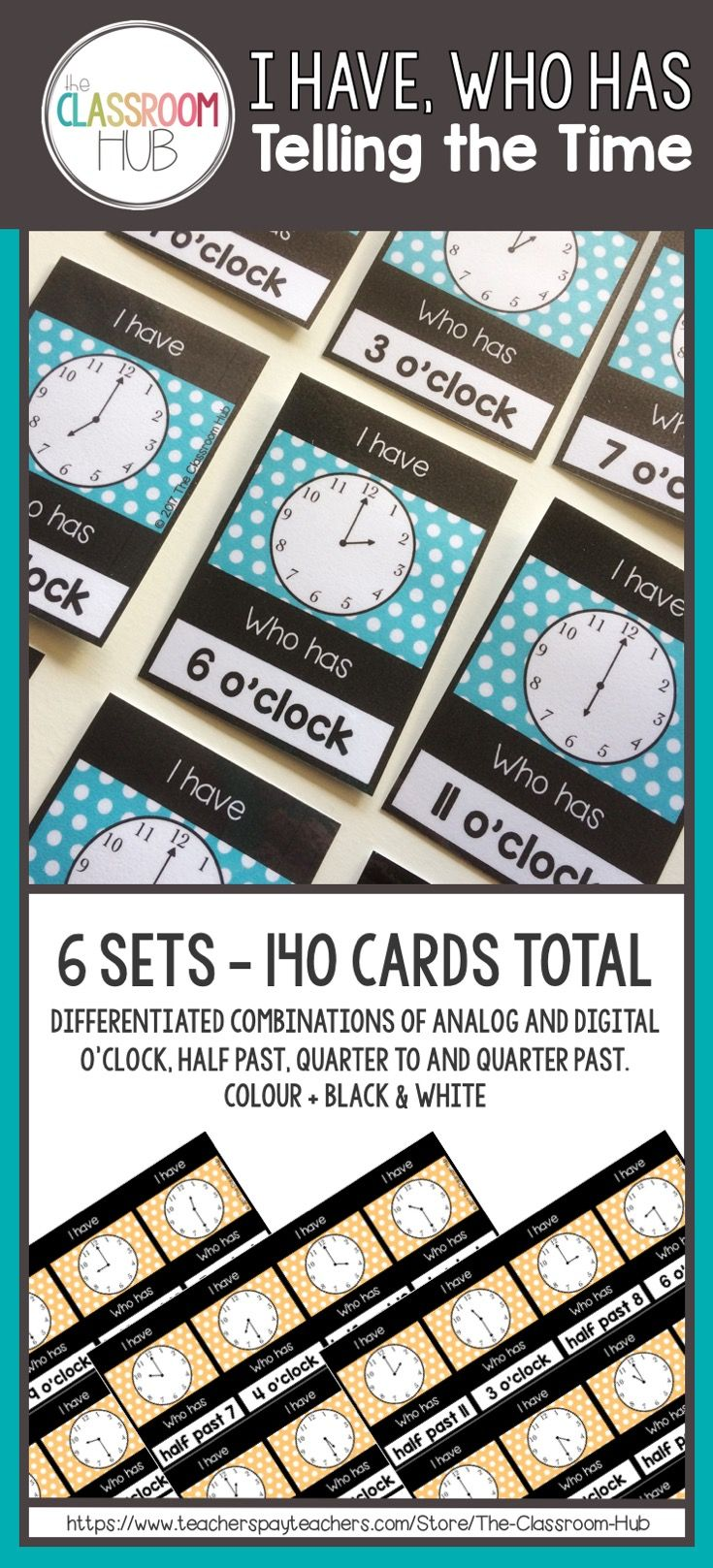 I Have, Who Has : Telling Time is a handy set of cards to use with your K-2 class. Ideal as part of a lesson on telling time, a warm up or as a break between lessons.