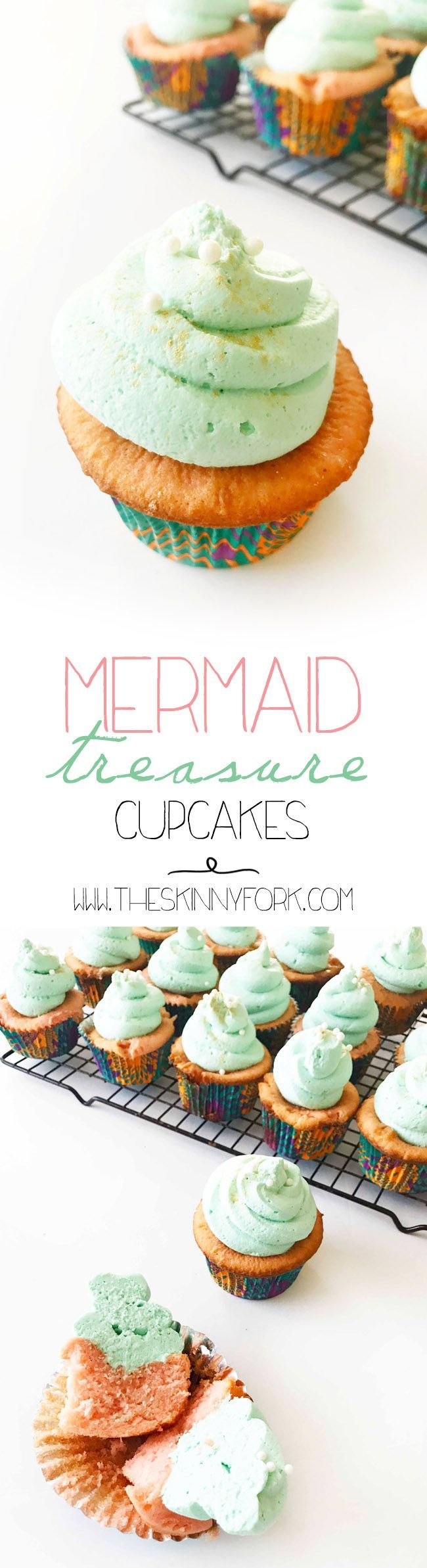You've got to try these NEW Mermaid Treasure Cupcakes! Strawberry marshmallow cake with a whipped cream 'cheesecake' frosting. TheSkinnyFork.com | Skinny & Healthy Recipes