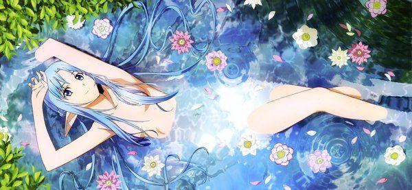 Аниме картинка 4072x1883 с  мастера меча онлайн a-1 pictures yuuki asuna takata akira длинные волосы один (одна) высокое разрешение смотрит на зрителя голубые глаза широкое изображение эротика синие волосы нагота скан острые уши официальный арт девушка лепестки вода