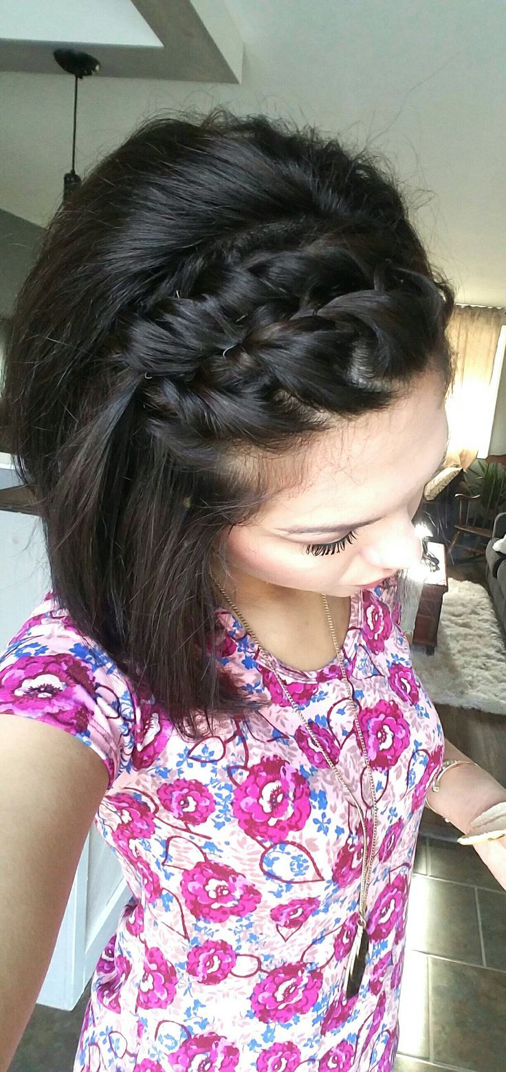 Double twists & some bobby pins. Simple, fun, cute style for short hair with bangs!