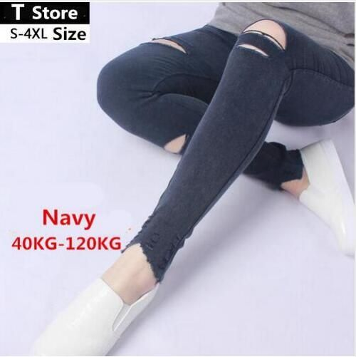 2017 Spring Black Ripped Jeans Women Holes In Knees Tight Denim Pants Femme High-Waisted Jeans Destroyed Trousers Female