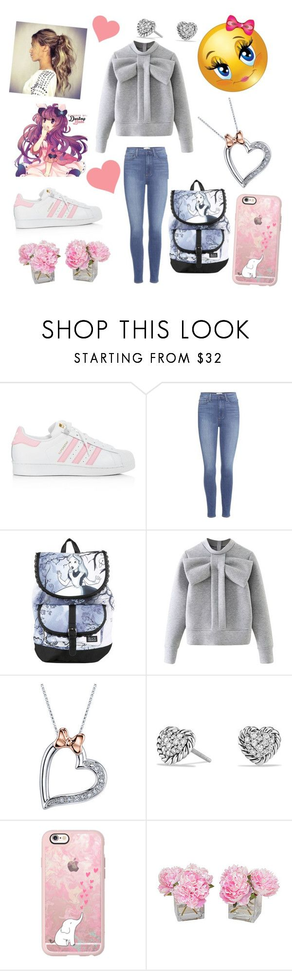 """Cute style"" by eliskiku ❤ liked on Polyvore featuring adidas, Paige Denim, Disney, WithChic, David Yurman, Casetify, The French Bee, cute and anime"