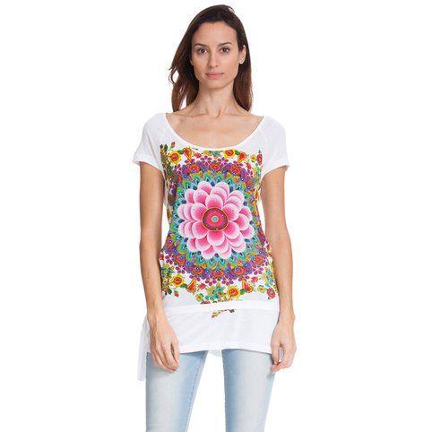 T-shirt manches courtes imprimé rosace fleur à perles femme Desigual - Blanc- Vue 1
