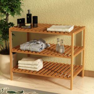Koupelnový regál masivní ořechové dřevo 65x40x55 cm