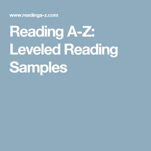 Reading A-Z: Leveled Reading Samples
