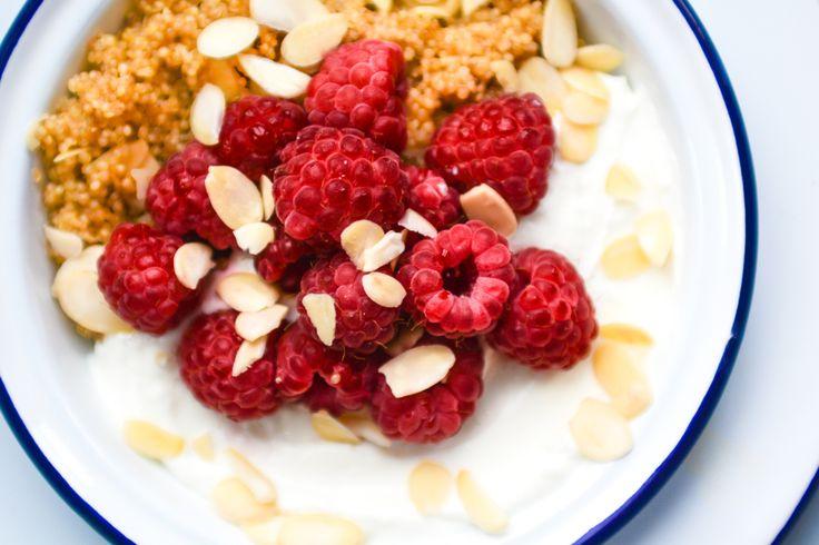 toasted honey & cinnamon quinoa w/ raspberries, greek yogurt, and ...