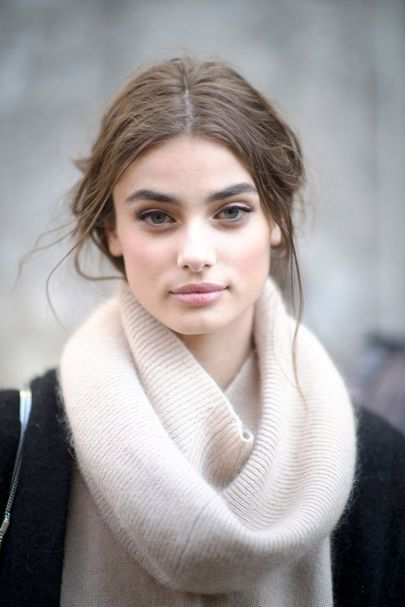 """Taylor Hill beauty Q&A  Do you have any beauty sins?  """"Well I'm pretty good with keeping a good routine because it's a part of my job. We're often at shoots getting make-up applied throughout, so I always make sure to wash my face and get the make-up off before going to bed."""""""