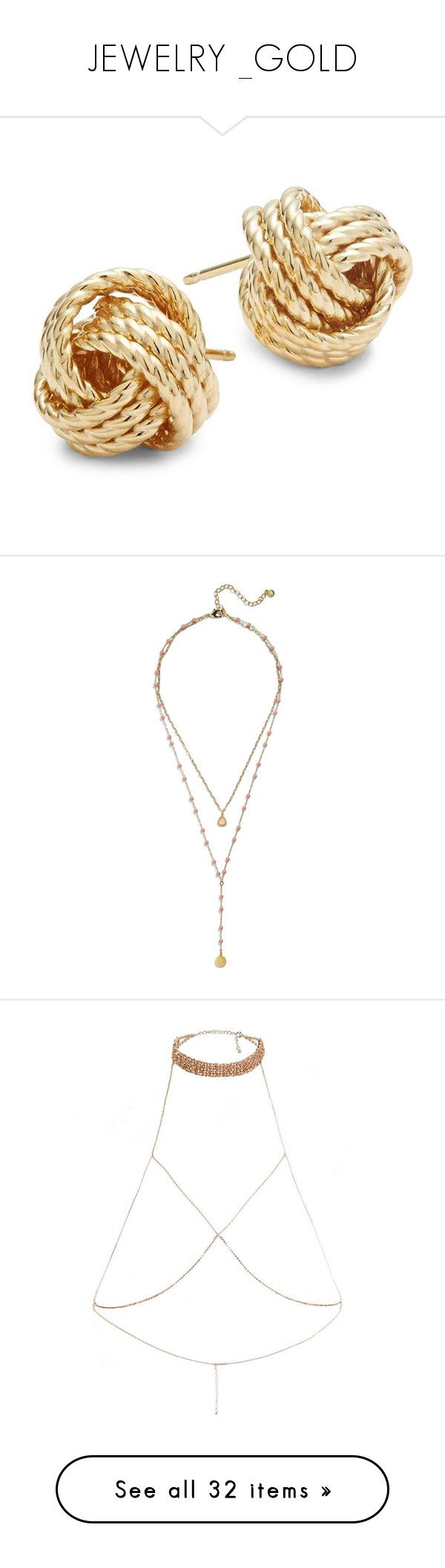 """JEWELRY _GOLD"" by yogalover1960 ❤ liked on Polyvore featuring jewelry, earrings, accessories, yellow gold stud earrings, 14k gold jewelry, 14k yellow gold earrings, 14 karat gold earrings, nautical earrings, necklaces and double layer pendant necklace"