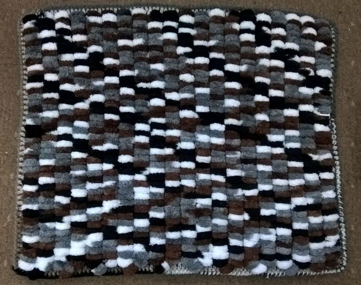 handknit baby blanket, washable yarn pram, unisex, black/white/grey/brown, Rico