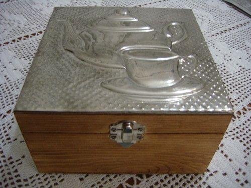 caixa de chá com estanho - Decoupage – Decoração personalizada