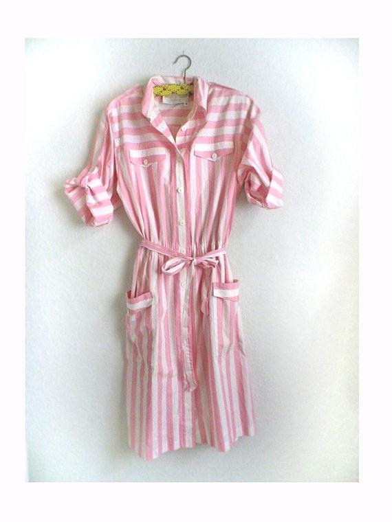 Vintage trend Kleid, pastell rosa weisse Streifen, Sommerkleid, gr 38 Bonbon