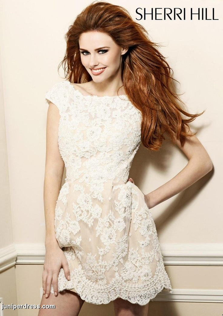 Sherri Hill floral lace prom dress #prom2013 #juniperdress #ivory #patterned