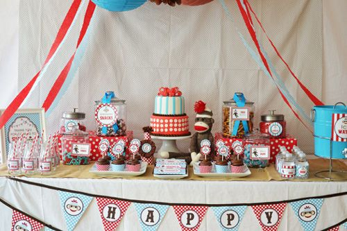 baby blue and red theme | Teal and Red Sock Monkey Birthday Party Collection | Baby Lifestyles