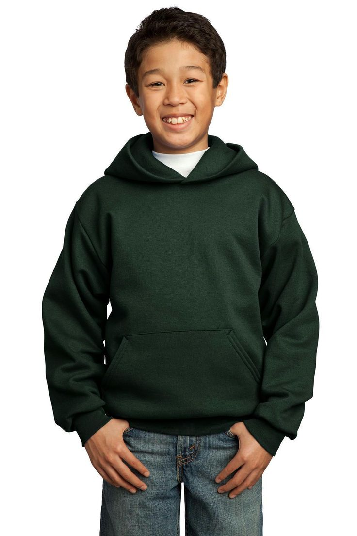 Port & Company - Youth Core Fleece Pullover Hooded Sweatshirt.  PC90YH Lime / XS 17