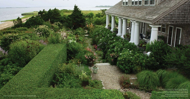 beachfront home, Nantucket with beautiful garden, large open porch