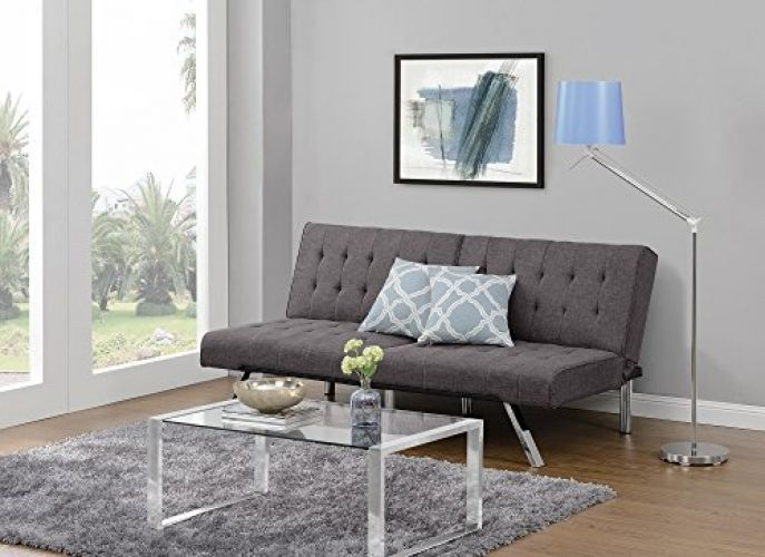 Modern Futon Sofa Bed Convertible Couch Chrome Legs Converts Into A Bed Grey  #DHP #Modern