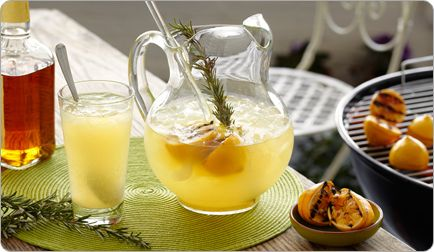 Grilled Lemonade- Swap in your favorite zero-calorie sweetener for the sugar in this lemonade recipe to save about 130 calories per 8-ounce glass.  Serves: 8  Prep Time: 15 Minutes  Cook Time: 15 Minutes  Nutrition Score per serving:  230 calories, 0.5 g fat, 5 mg sodium, 46 mg carbohydrates, 34 g sugars, 2 g protein        Ingredients  6 lb lemons  1/2 cup water  1/2 cup sugar  1/2 cup honey  2 Rosemary sprigs  1 cup Four Roses Bourbon*  ice  Directions  Cut the lemons in half and dip the…