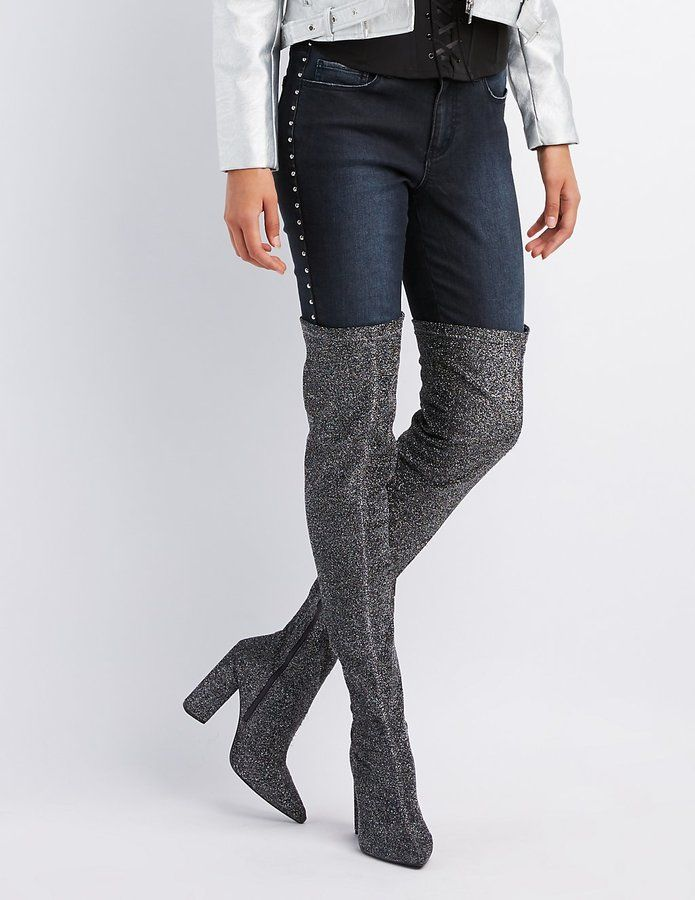 Charlotte Russe Glitter Over-The-Knee Boots