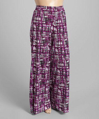 Purple & Black Grid Palazzo Pants - Plus #zulily #zulilyfinds