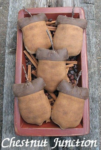 Acorn Ornies ePattern -primitive fall thanksgiving autumn halloween craft pattern- 3.99 - PDF