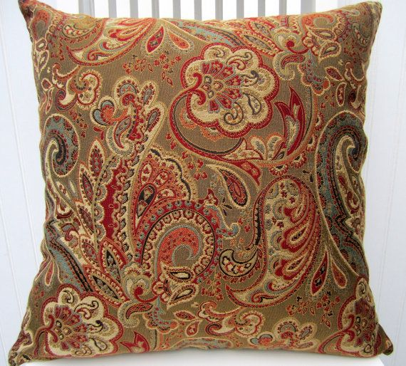 Captivating Red Blue, Green, Gold, Brown Paisley Decorative Pillow Covers  Or Or  Beautiful Throw Pillow  Accent Pillow