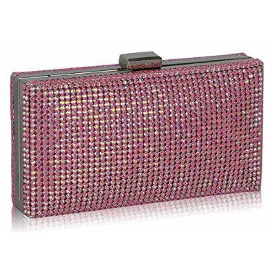 Womens Hard Case Sparkly Clasp Evening Clutch Bag (17cm x 8cm)