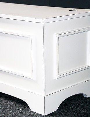 truhe truhenbank sitztruhe 84 cm holz sitzbank massiv wei vintage shabby chic - Sitzbank Truhe Chest Wei