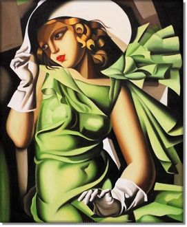 Dziewczyna w zielonej sukience Tamara Lempicka 3d