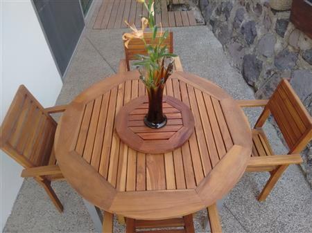 Venta de muebles para exteriores CENTRO DE MESA GIRATORIO DE MADERA NATURAL PARA EXTERIOR DE TZALAM