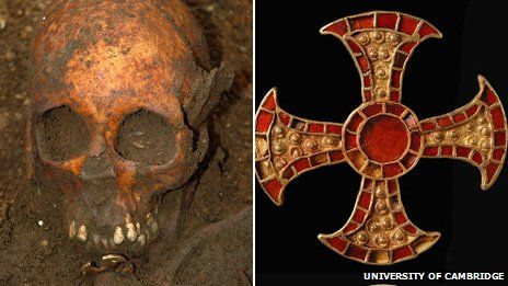 Skull of Anglo-Saxon girl and cross found in grave near Cambbridge. Believed to be one of the earliest examples of Christianily overtaking Paganism. The grave dates from the mid-7th century AD when Christianity was being introduced to the Pagan Anglo-Saxon kings.