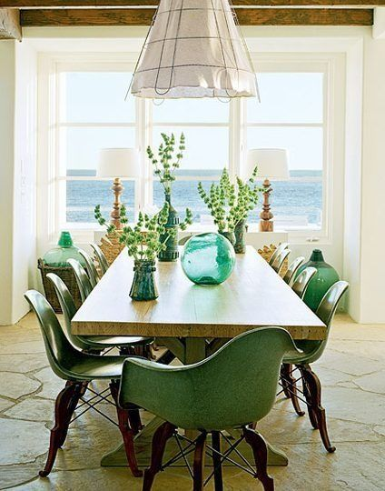 Green and blue.: Dining Rooms, Eames Chairs, The View, Houses Style, Interiors Design, Beaches Houses, Green Chairs, Design Home, Cool Chairs