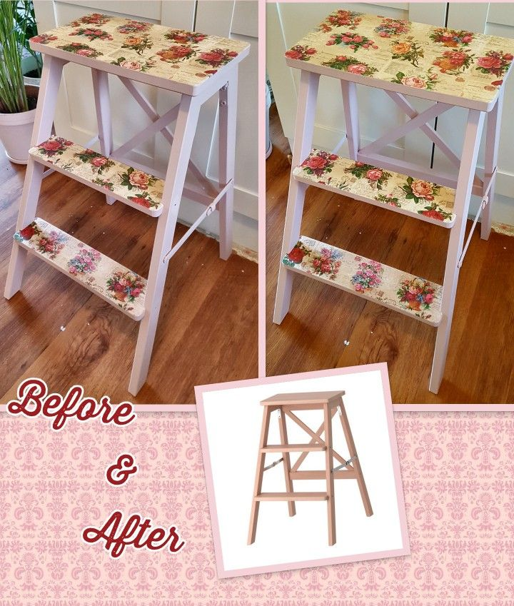 A different sort stool's make-over. Pink paint is called Jeanne D'Arc Living's Faded Rose, and for decoupage I used beautiful flower napkins and Mod Podge