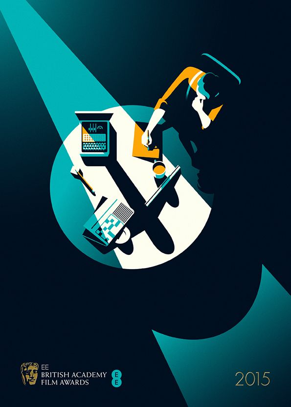 It's Nice That : Malika Favre's terrific film noir-inspired posters for the BAFTAs