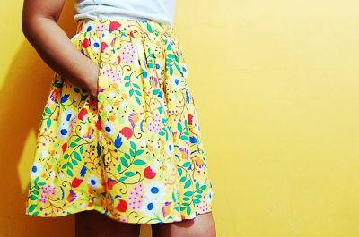 tutorial: easy DIY gathered full skirt with pocket