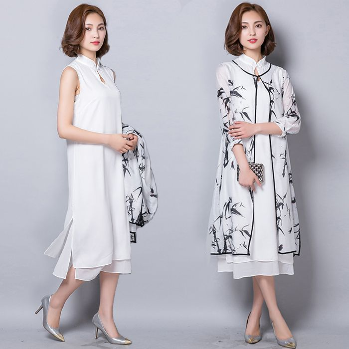 2016 Summer Women Cotton 2 Piece Set Cheongsam Print Dresses Mandarin Collar Buttons Casual White Plus Size Maxi Long Dress-in Dresses from Women's Clothing & Accessories on Aliexpress.com | Alibaba Group