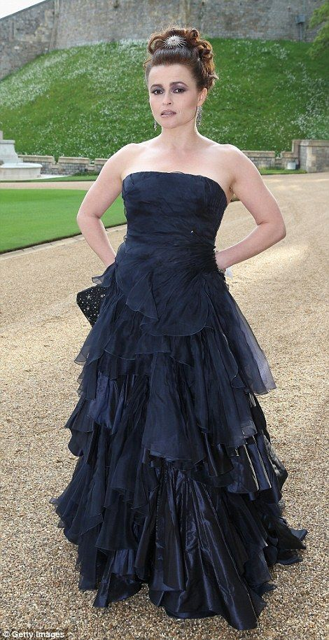 5/13/14.  She was joined by Helena Bonham Carter, who was also clad head to toe in Ralph Lauren - a Midnight Navy Silk Taffeta & Organza Evening Dress