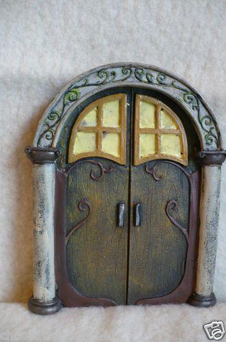 NEW Glow Fairy Door Glows IN Dark Village Statue Brown 7 IN Garden Decor Gnome | eBay