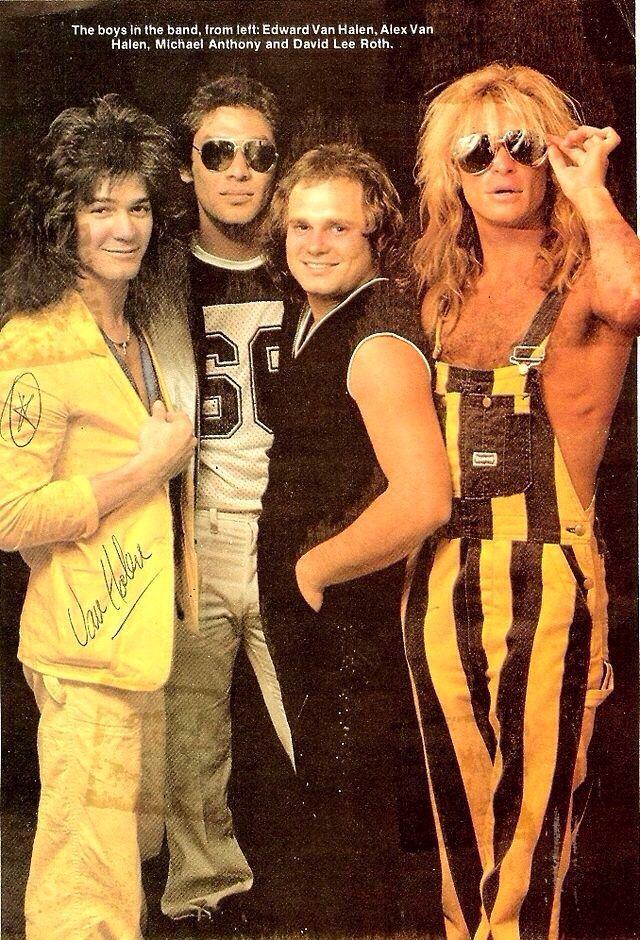 Van Halen striking a pose 1984