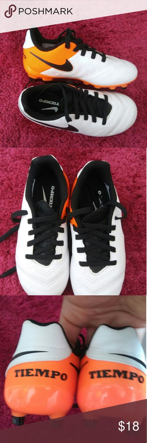 NWON Unisex Preschool Outdoor soccer cleats Nike Tiempo  Colors are white orange and Black Never worn. Purchased for my daughter, only to be told she needs indoor shoes instead Nike Shoes