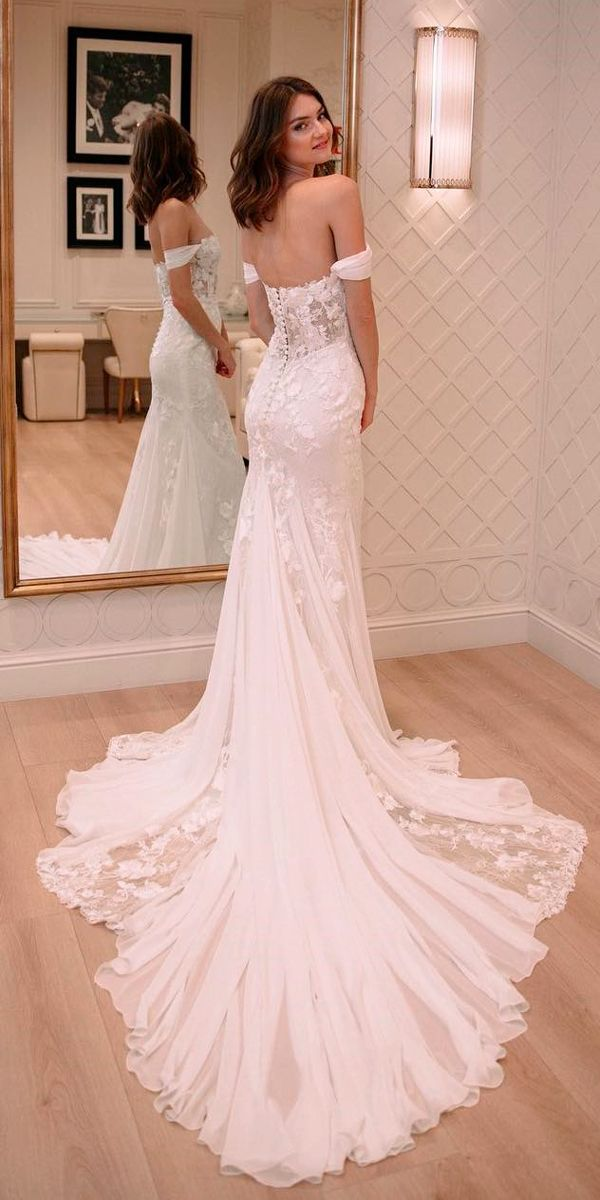 33 Romantic Off The Shoulder Wedding Dresses ❤ off the shoulder wedding dresses trumpet lace open back with train pronovias ❤ See more: http://www.weddingforward.com/off-the-shoulder-wedding-dresses/ #weddingforward #wedding #bride