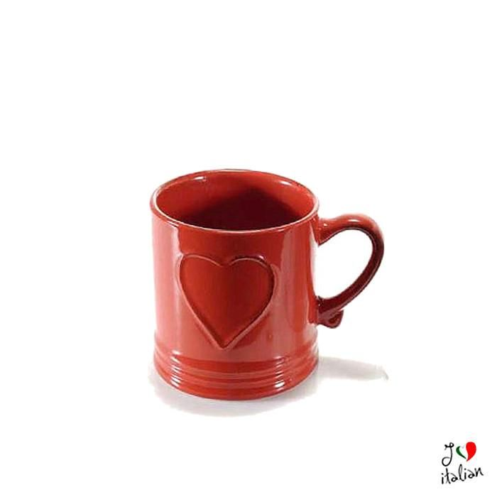 Red and White ceramic cup with heart - Dining - €7.90